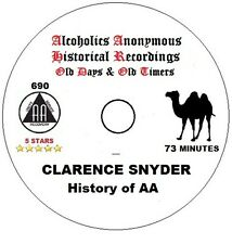 Alcoholics Anonymous AA 12 Step Speaker CD - Clarence Snyder on AA History