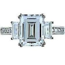 Emerald Step Cut  Signity Cz Princess Engagement Wedding Ring Sterling Silver 9