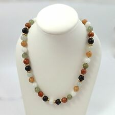 """14k Yellow Gold Multi Color 8mm Jade Bead Beaded Choker Necklace 15.5"""""""
