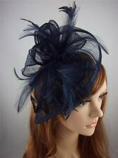 Navy Dark Blue Sinamay & Feathers Teardrop Fascinator  - Occasion Wedding Races