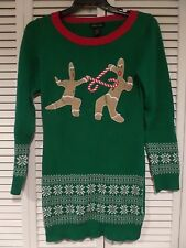 NWOT Too Duel for School Sweater Dress Gingerbread Green Red