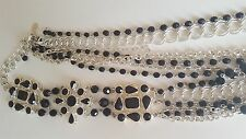 White House Black Market Beaded Jet Crystal and silver multi-strand Statement Ne