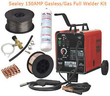 SEALEY 150AMP Gas/Gasless Mig Welder FULL KIT With CO2,Flux & Steel Wire,5x Tips