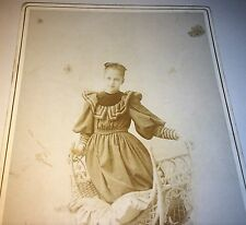 Antique Victorian American Girl Kneeling on Chair! Boston, MA Cabinet Card Photo