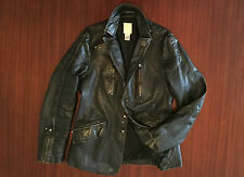 Extremely Rare DIESEL Distressed Leather Jacket Black Brown Biker Blazer Men's M