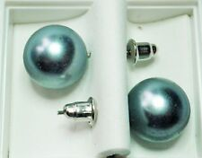 Grey Faux Pearl 12mm Stud Earings on Posts with Butterfly Backs