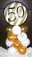 "18"" FOIL BALLOON  TABLE DECORATION DISPLAY AGE 50 50TH BIRTHDAY / ANNIVERSARY GW"