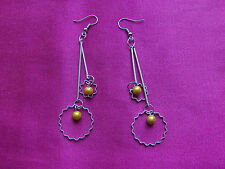Silver Tone Drop Dangle Long Hook Earrings, Bars, Balls, Circles, Yellow Balls