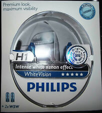 PHILIPS H1 WHITEVISION INTENSE XENON EFFECT UPGRADE BULBS 4300K H1 BULBS + W5W