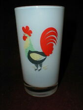 Canonsburg/Steubenville Rooster Family Affair Frosted Glass Tumbler/s Rare