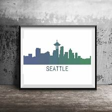 Seattle Cityscape Silhouette Seakhawks Green Blue Counted Cross Stitch Pattern