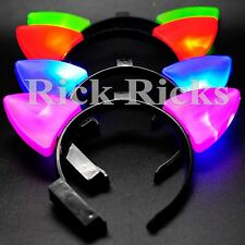 12 Cat Ears LED Headbands Light Up Party Rave Wear Costume Fox Flashing Favors