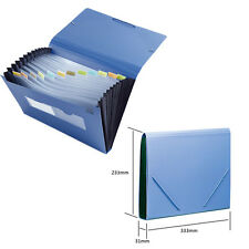 Business Student A4 12 Pockets File Folder Document Accordion Organiser Blue