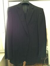 Ermenegildo Zegna Black with Pinstripe Suit, Size 44 L, 100% Wool