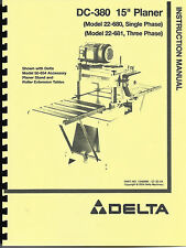 "Delta 15"" DC-380 Planer Instruction Manual 22-680 - 22-681"
