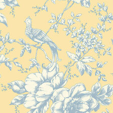 "12""/31cm Wallpaper SAMPLE Historical Bird Floral Yellow Blue"
