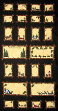 "Summer Vacation Camp Woods Cotton Fabric Frames Black Riverwoods 24""X44"" PANEL"