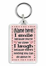 Personalised Sister Keyring *Funny Christmas Stocking Filler Gift *