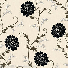 Debona, Wallpaper, Cream & Black Floral Design, Flower Leaf Roll BNIB Gemma 5066