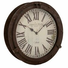 43cm Aged Vintage Extra large Port Hole Metal Station Wall Art Home Office Clock