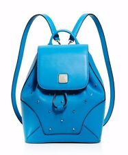 NWT $820 MCM Claudia Studded Small Mini Backpack Tile Blue AUTHENTIC Free Ship