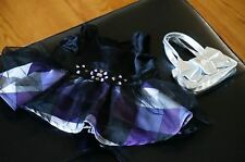 Build A Bear CLOTHES Purple Black White JUSTICE Dress Silver Purse Lot Set BABW