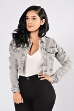 New Fashion nova Denim Jean Jacket Crop Grey Vintage Style Fall Spring Retro S