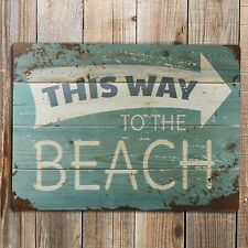 THIS WAY TO THE BEACH Quote Print On A Metal Sign Vintage retro Novelty