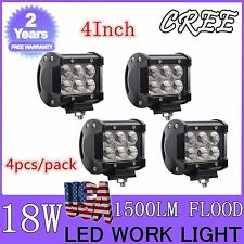 4X 4inch 18W CREE Flood LED Light Bar Off Road Work 4WD Truck 12V24V Reverse New