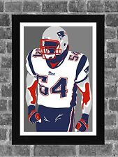 New England Patriots Tedy Bruschi Portrait Sports Print Art 11x17