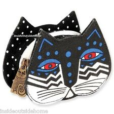 Laurel Burch Polka Dot Cat Feline Face Coin Purse Lobster Claw Clasp NEW