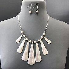 Unique Silver Hammered Metal Triangle Shape Boho Style Necklace With Earrings