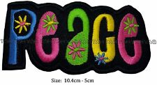 Peace hippy rainbow colour iron sew on patch  flowers embroidered #117