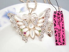 Betsey Johnson Fashion Cute Crystal White Opal Butterfly Pendant Necklace # A