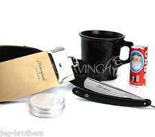HARYALI STRAIGHT CUT THROAT RAZOR LEATHER STROP & PASTE SHAVING MUG & ARKO SOAP