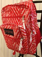 JanSport BIG STUDENT BACKPACK Pink Coral Peaches Wild At Heart Zebra School Bag