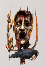 HALLOWEEN SEVERED HEAD cling MURAL 1 BIG decoration raven Field of Screams decal