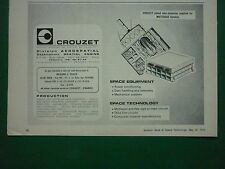 5/1974 PUB CROUZET SPATIAL ENGINS SPACE EQUIPMENT METEOSAT SATELLITE ORIGINAL AD