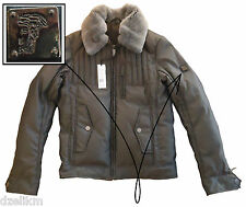 NWT $1395 Versace Collection Bomber Jacket With Beaver Fur Collar Size M (50EU)