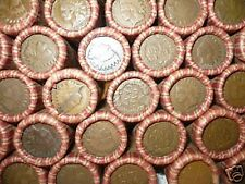 MIXED WHEAT INDIAN PENNY SHOTGUN ROLL WITH INDIAN HEAD CENT END! 50 COINS LOT LK