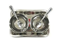 5 PC Stainless STEEL RELISH PICKLE CHUTNEY PARTY SERVING DISH BOWLS THALI SPOON