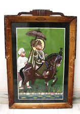 Antique Miniature Rare Painting of Indian Folk Divinity Horse Rider Tribal