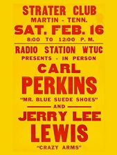 "Carl Perkins / Jerry Lee Lewis 16"" x 12"" Photo Repro Concert Poster"