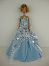 Powder Blue Gown with Large Silver Sequin Detail Made to Fit Barbie Doll