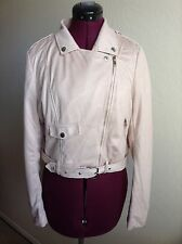 NEW MISSGUIDED Faux Suede Biker Jacket*Mink/Pale Pink*UK 10/US 6