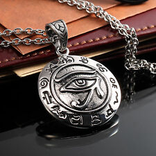 AgentX Men's Pendant The Eye Of Horus Stainless Steel Chain Necklace Jewelry+Bag