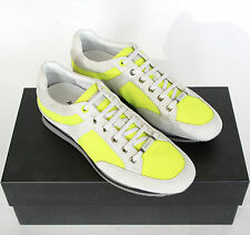 ZEGNA SPORT $395 gray suede leather neon green mesh sneakers shoes 7.5-US NEW