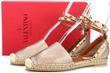 NEW VALENTINO GARAVANI METALLIC GOLD ROCKSTUD LEATHER WRAP ESPADRILLES SHOES 37