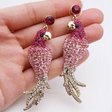 Parrot Animal Dangle Earrings Pierced Pink Austrian Crystal Gold Plated Women