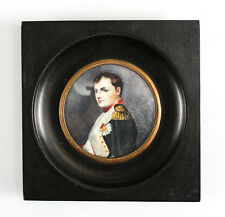 Continental Hand Painted Miniature Portrait of Napoleon Bonaparte signed 19th C